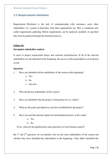 business process questionnaire template a questionnaire for identify failures in business analysis