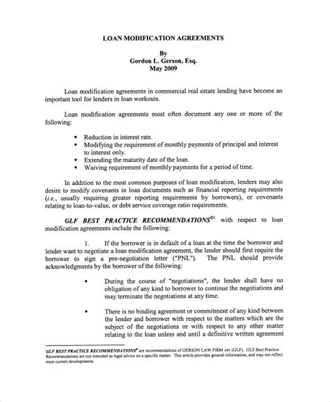 Loan Modification Agreement Template sle commercial loan agreement 8 documents in pdf