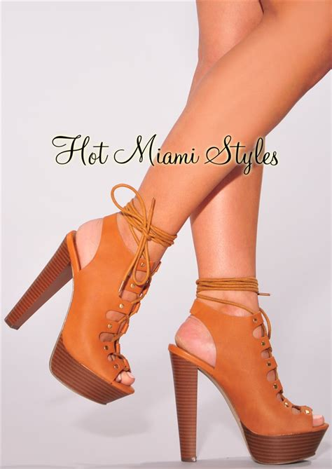 Faux Leather High Heel Sandals faux leather lace up wooden high heel sandals