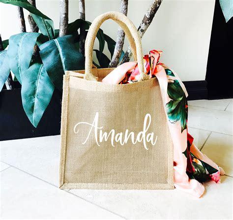 burlap tote bag personalized