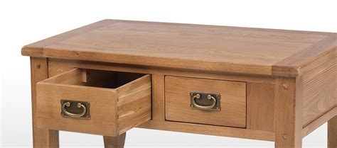 Small Oak Coffee Table With Drawers Rustic Oak Small 2 Drawer Coffee Table Quercus Living