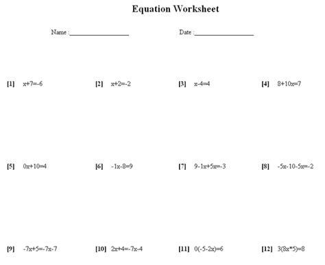 Math Equations Worksheets by Algebra Problems And Worksheets Algebraic Division