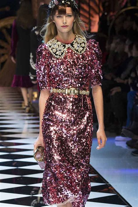 latest trends dolce gabbana pink sequinmetallic dress fw16 fall winter