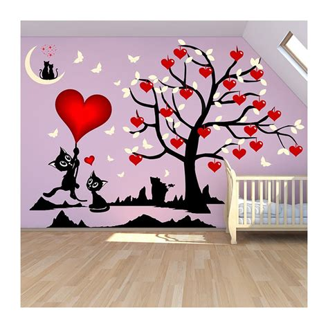 sticker mural chambre fille stickers chambre fille arbre et chats o 249 les coeurs