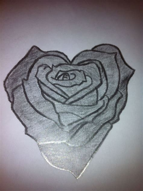 roses with hearts tattoos pencil drawings of hearts shaped drawing