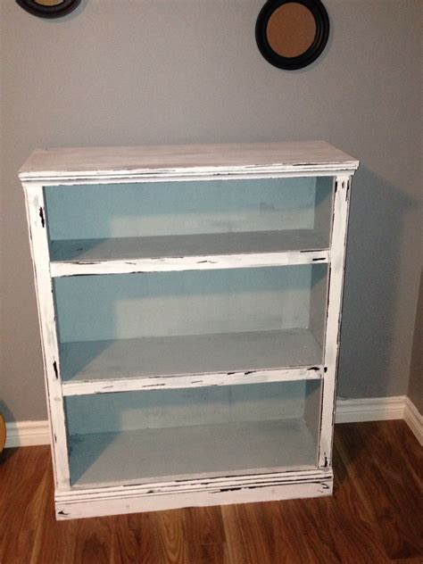 How To Paint A Bookcase White A Bookcase I Made Into A Distressed Vintage Look Using