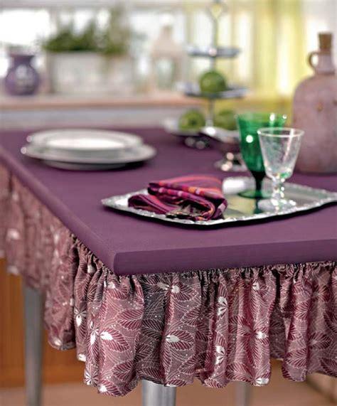 purple paint and table skirting simple and bright table