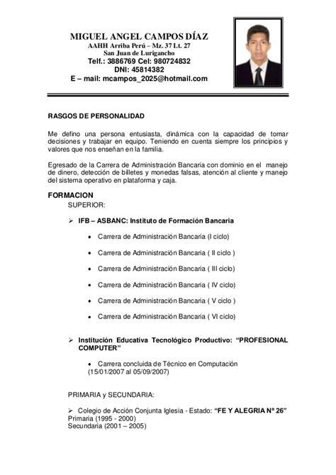 Modelo De Curriculum Vitae En Peru 2014 Curriculum Vitae 2014