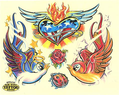 new school bird tattoo designs school color comic bird wings