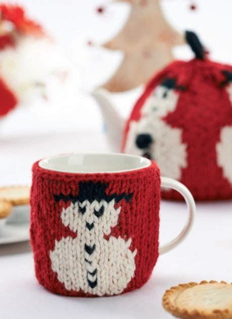 christmas knitted cozy cosy set for teapot and teacup knitting bee