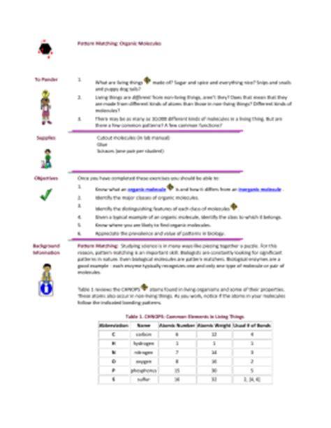 pattern matching part 2 answer key pattern matching organic molecules
