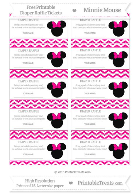 printable chance tickets free magenta chevron minnie mouse diaper raffle tickets