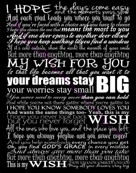 My Wish by Rascal Flatts My Wish Typography Song Lyric By