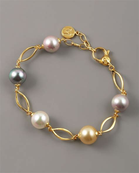 Majorica Multicolor Pearl Link Bracelet in Gold (pearl)   Lyst
