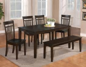 Dining Room Set Bench 6 Pc Dinette Kitchen Dining Room Set Table W 4 Wood Chair And 1 Bench Cappuccino Ebay