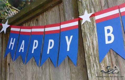 Bunting Flag Happy Birthday Banner Hbd Karakter Captain America happy bday captain america banner birthday ideas window treatments