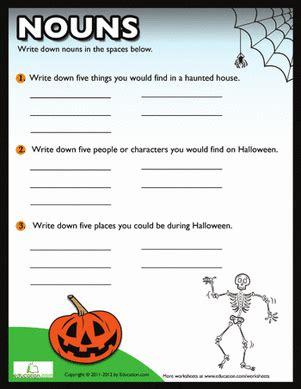 printable noun games for middle school halloween nouns worksheet education com