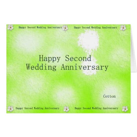 happy second wedding anniversary greeting card zazzle