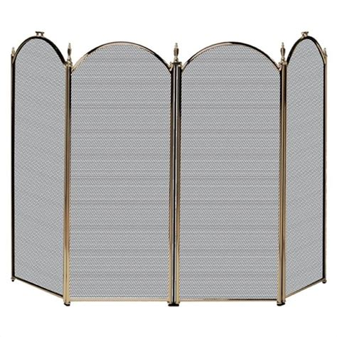 uniflame 4 fold antique brass fireplace screen ebay