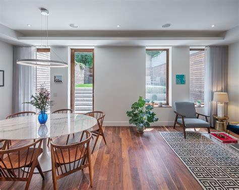 brilliant clear acrylic dining room transitional with