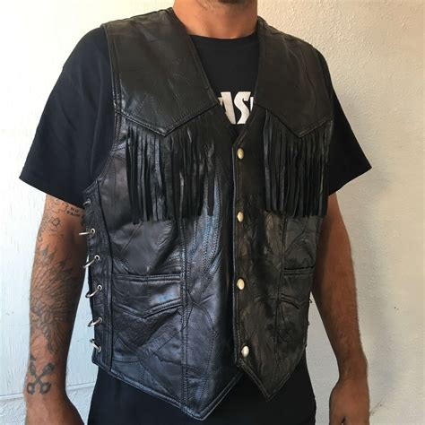biker vest black leather biker vest planetsleaze