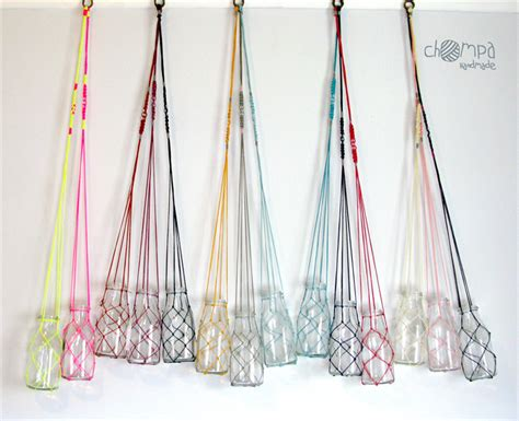 How To Make Plant Hangers Out Of Yarn - macrame fishing net flower plant hanger vintage inspired