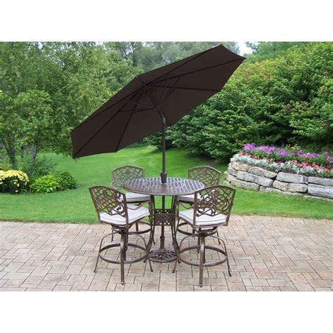 Patio Sets With Umbrellas Oakland Living Elite Mississippi Cast Aluminum 5 Swivel Patio Bar Set With Solid Cushions