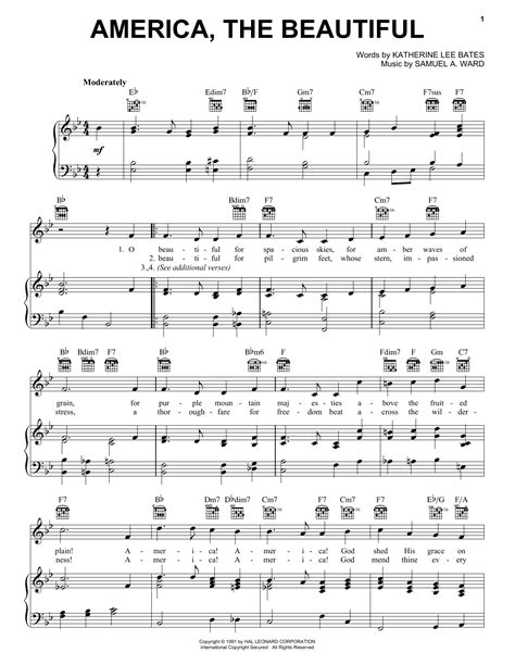 printable lyrics america the beautiful america the beautiful sheet music by katharine lee bates