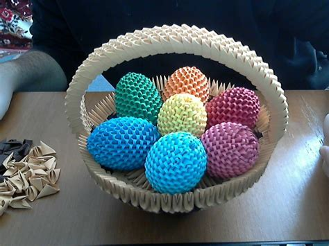 3d Origami Basket - how to make 3d origami happy easter egg basket