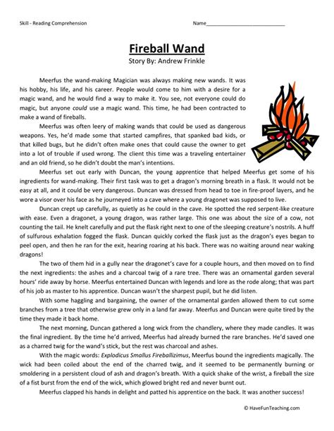 Free 5th Grade Reading Comprehension Worksheets Printables by Reading Comprehension Worksheet Fireball Wand