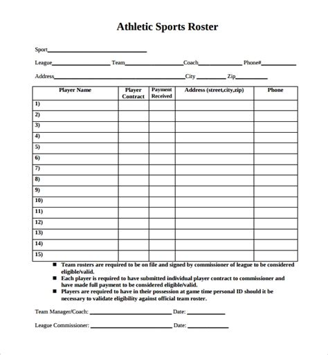 8 Sports Roster Templates Sle Templates Roster Template Word