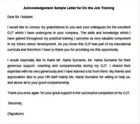 ojt written report sle acknowledgement letter for ojt journal 28 images sle