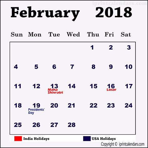 february 2018 calendar with holidays templates amp tools