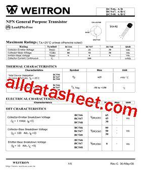 transistor bc547 pdf bc547 datasheet pdf weitron technology