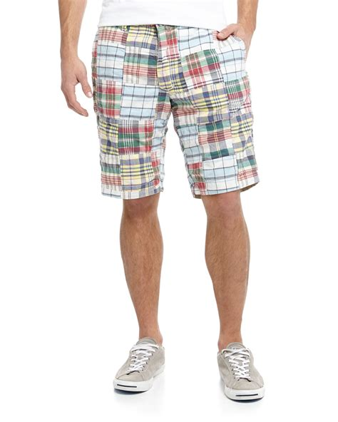 Mens Patchwork Shorts - tailor vintage reversible plaidkhaki twill shorts preppy