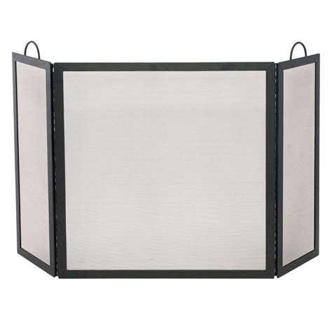 uniflame black wrought iron 3 panel fireplace screen