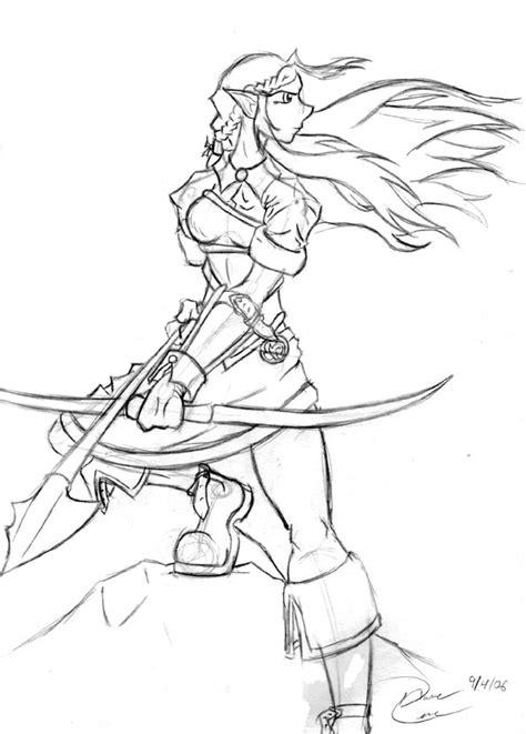 elf archer coloring pages female elf archer coloring pages sketch coloring page
