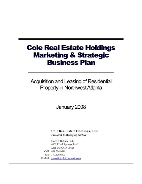 commercial real estate business plan template 28 images