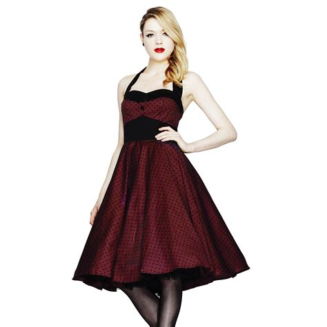 50s swing hell bunny ashley burgundy polka dot fit n flare vintage