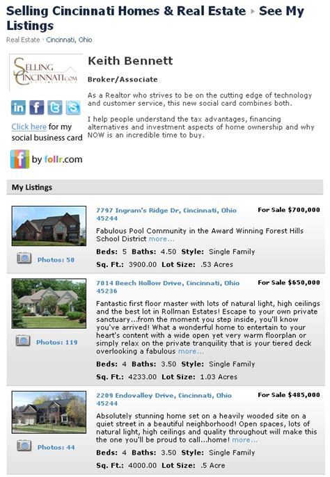 page profile selling cincinnati real estate