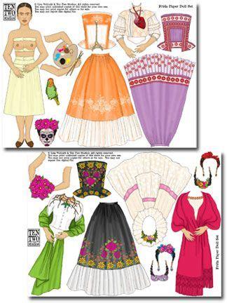 libro frida kahlo paper dolls ten two studios 187 frida paper doll set papeles studios paper and shops