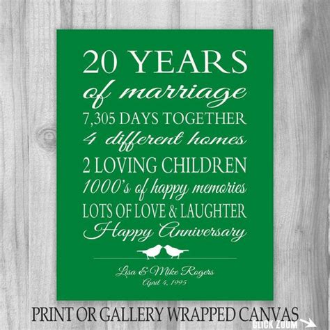 20th Wedding Anniversary What Gift by 20th Anniversary Gift 20 Year Anniversary Gift Canvas