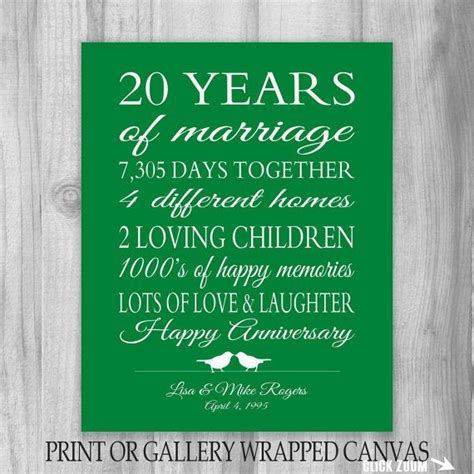20th Anniversary Gift 20 Year Anniversary Gift Canvas