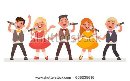 Cnk Set Kancing Sing set small singers childrens stock vector