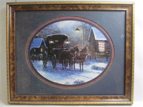 home interior framed sambataro framed picture print horses carriage winter