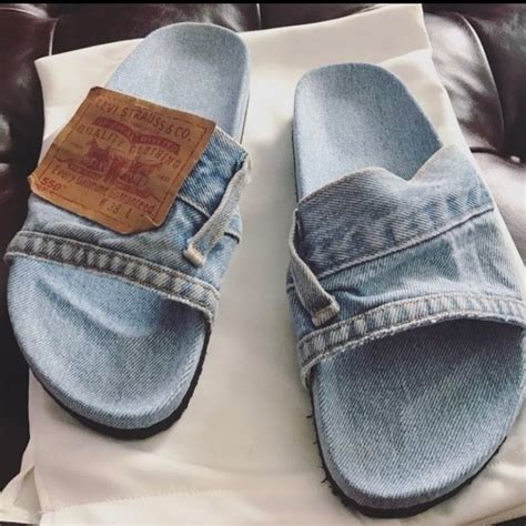 denim slippers shoes flip flops denim levi s blue blue