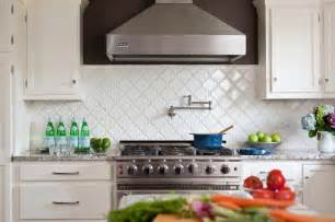 White Kitchen Tile Backsplash by Courtney Lane Arabesque Tile