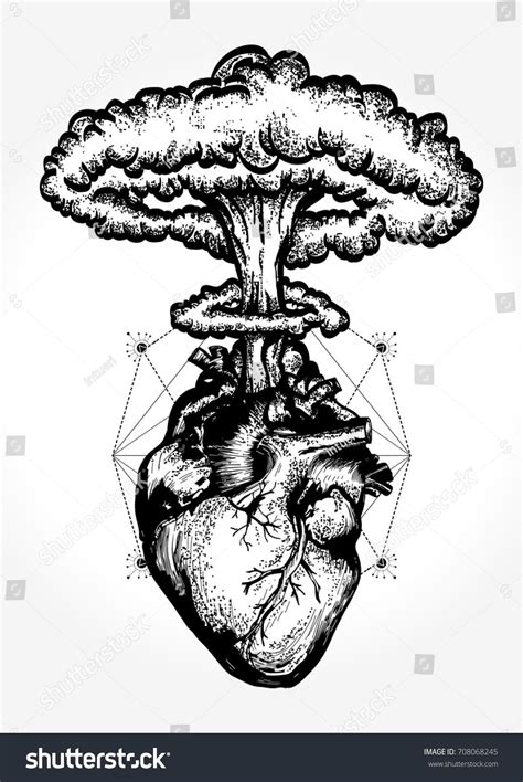 nuclear tattoo nuclear explosion of anatomical t shirt design