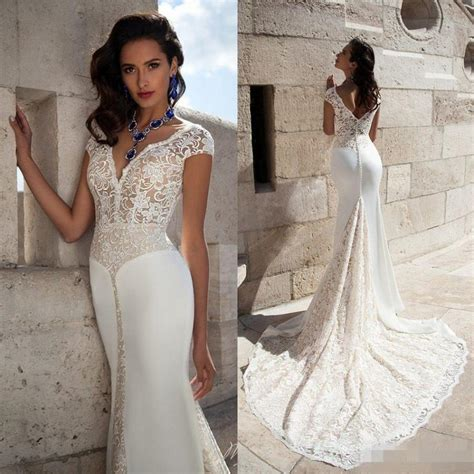 Wedding Hair For Cap Sleeve Dress by V Neck Wedding Dresses Cap Sleeve 2016 Lace