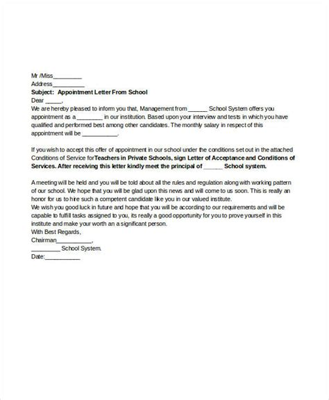 appointment letter for a school 49 appointment letter exles sles